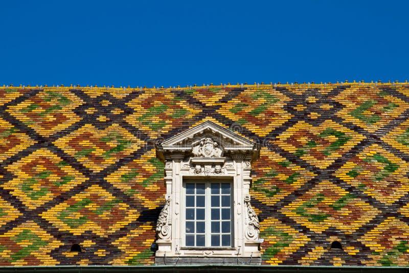 χρωματισμένη πόλη στέγη της Ντιζόν Γαλλία στοκ εικόνες