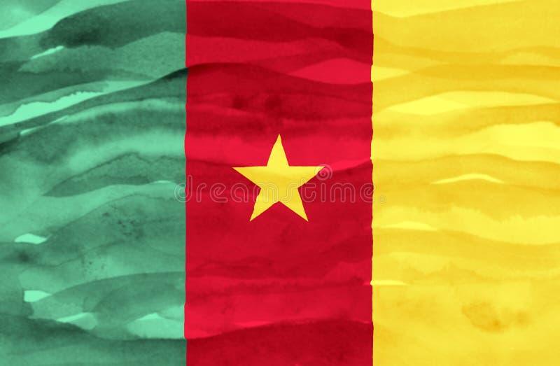 Χρωματισμένη σημαία του Καμερούν στοκ εικόνα
