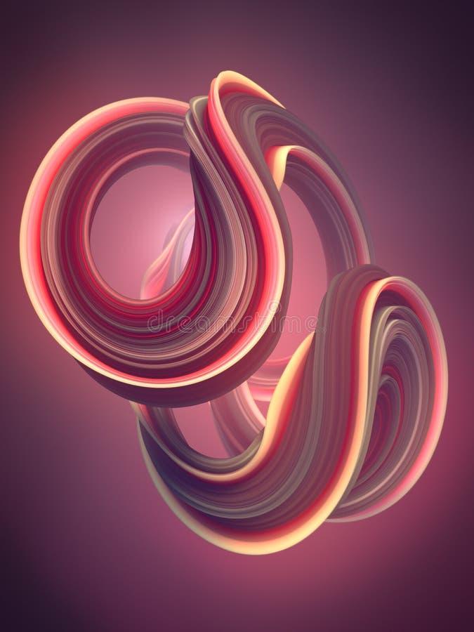 Χρωματισμένη στριμμένη μορφή Ο υπολογιστής παρήγαγε αφηρημένο γεωμετρικό τρισδιάστατο δίνει την απεικόνιση διανυσματική απεικόνιση
