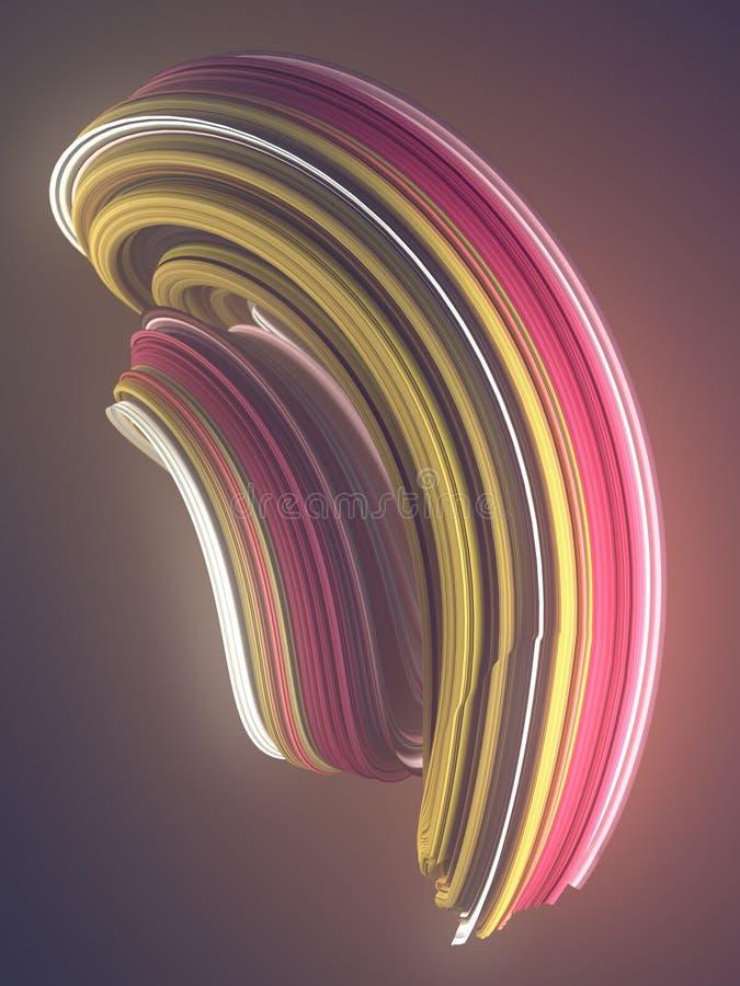 Χρωματισμένη στριμμένη μορφή Ο υπολογιστής παρήγαγε αφηρημένο γεωμετρικό τρισδιάστατο δίνει την απεικόνιση απεικόνιση αποθεμάτων