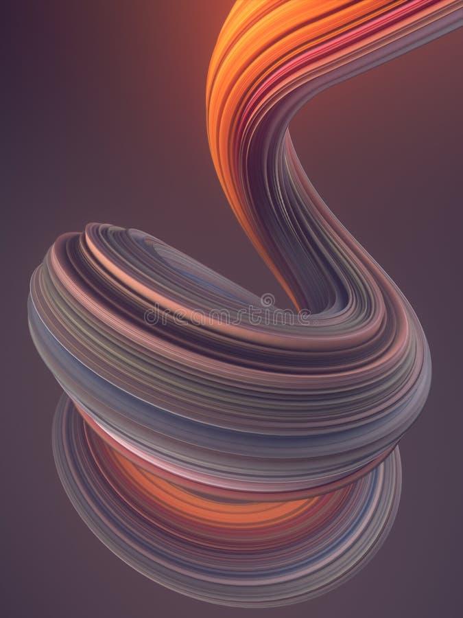 Χρωματισμένη στριμμένη μορφή Ο υπολογιστής παρήγαγε αφηρημένο γεωμετρικό τρισδιάστατο δίνει την απεικόνιση ελεύθερη απεικόνιση δικαιώματος