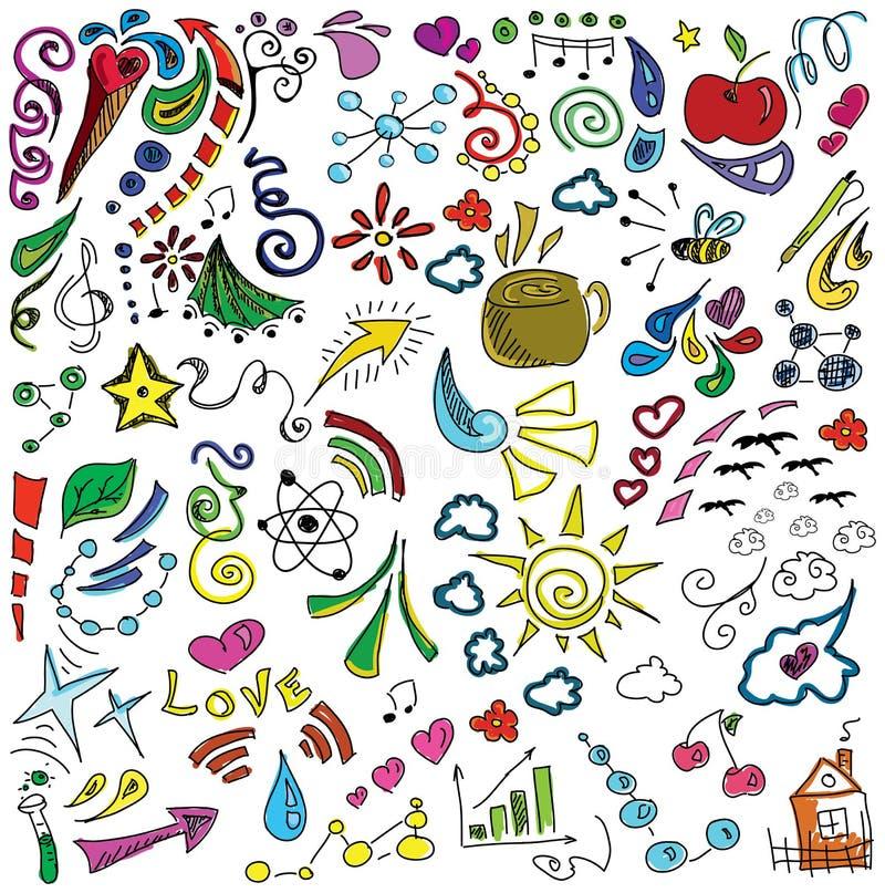 Χρωματισμένη συρμένη εικόνα με τα σύμβολα απεικόνιση αποθεμάτων