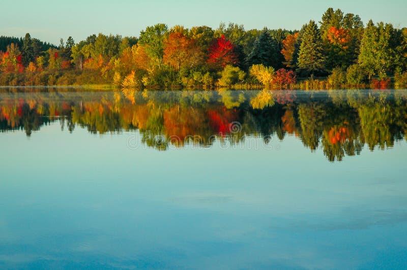 Χρωματισμένη φθινόπωρο αντανάκλαση δέντρων στη σαφή λίμνη στοκ φωτογραφία με δικαίωμα ελεύθερης χρήσης