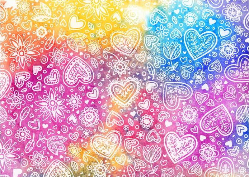 Χρωματισμένη χέρι ανασκόπηση Watercolor με τις καρδιές διανυσματική απεικόνιση