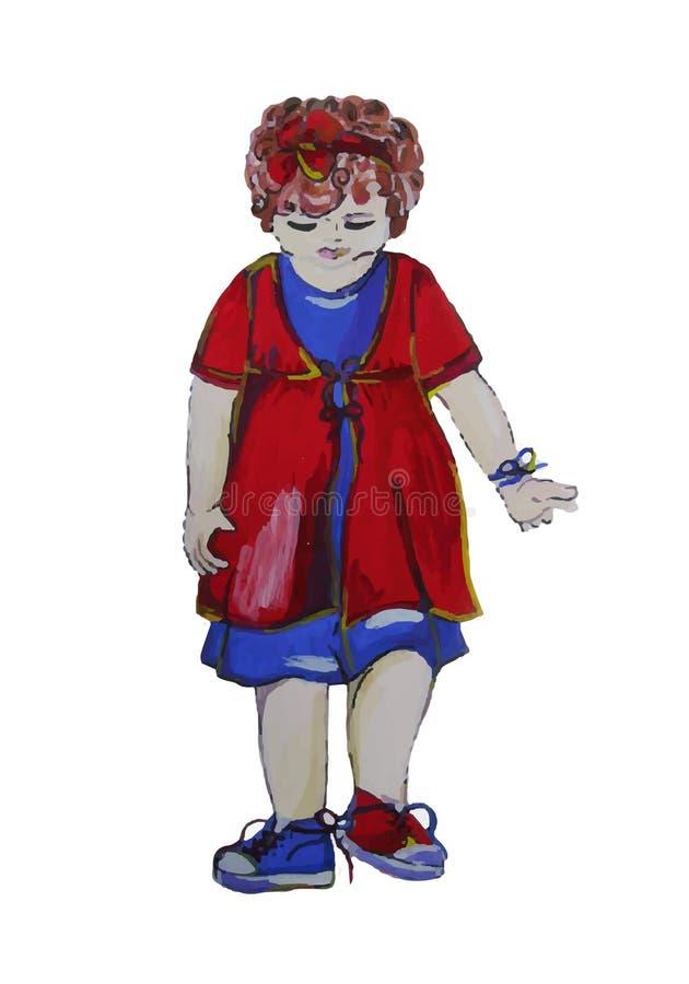 Χρωματισμένη χέρι απεικόνιση ενός παιδιού Το κορίτσι με τη σγουρή τρίχα φορά τα συνδυασμένα κακώς παπούτσια ελεύθερη απεικόνιση δικαιώματος