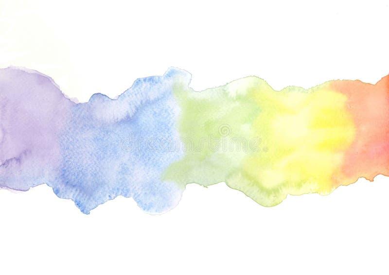 Χρωματισμένη χέρι απεικόνιση watercolor ουράνιων τόξων διανυσματική απεικόνιση