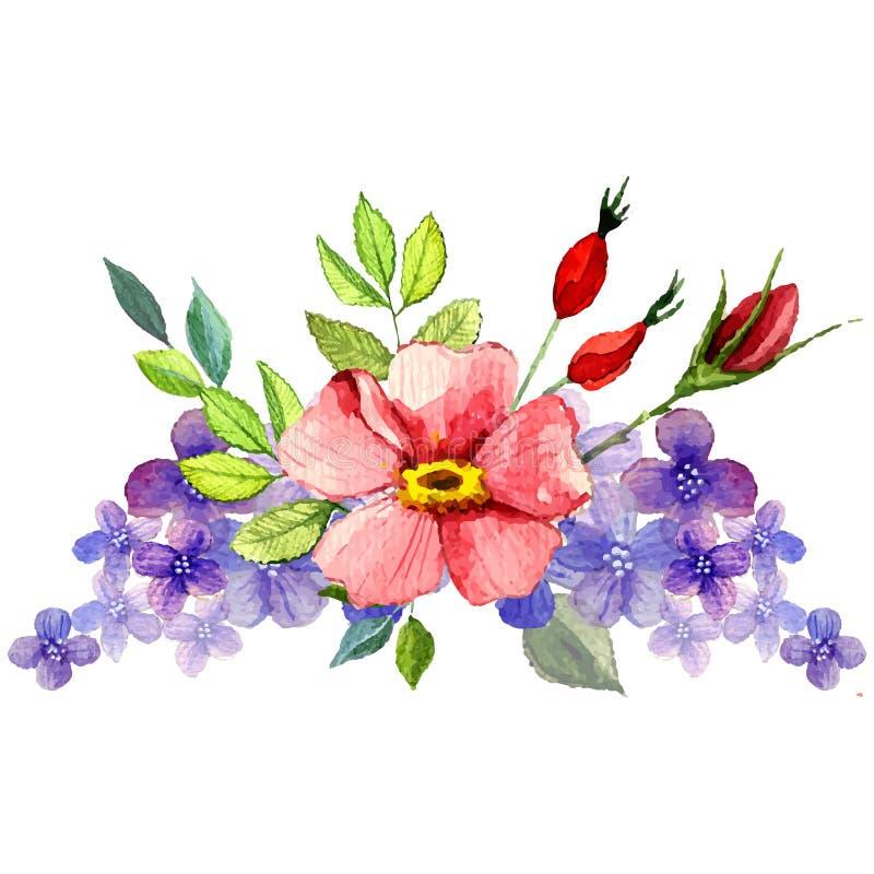 Χρωματισμένη χέρι διανυσματική floral ανθοδέσμη watercolor ελεύθερη απεικόνιση δικαιώματος
