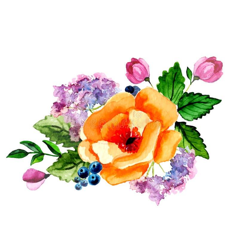Χρωματισμένη χέρι διανυσματική floral ανθοδέσμη watercolor διανυσματική απεικόνιση