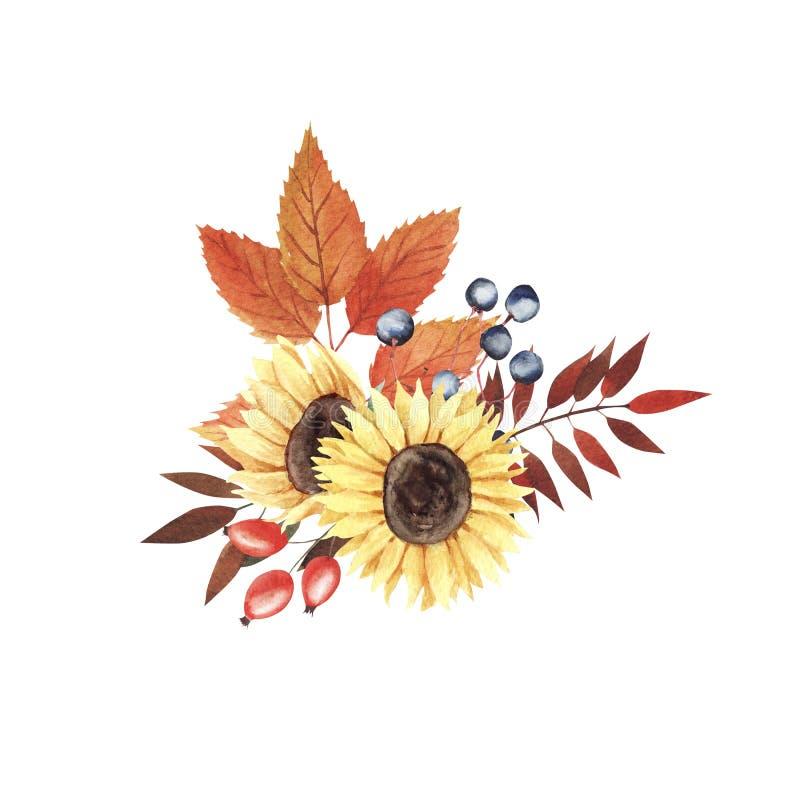 Χρωματισμένη χέρι σύνθεση watercolor με τα φύλλα και τα μούρα φθινοπώρου Όμορφη ανθοδέσμη φθινοπώρου με, λουλούδια και φύλλα διανυσματική απεικόνιση