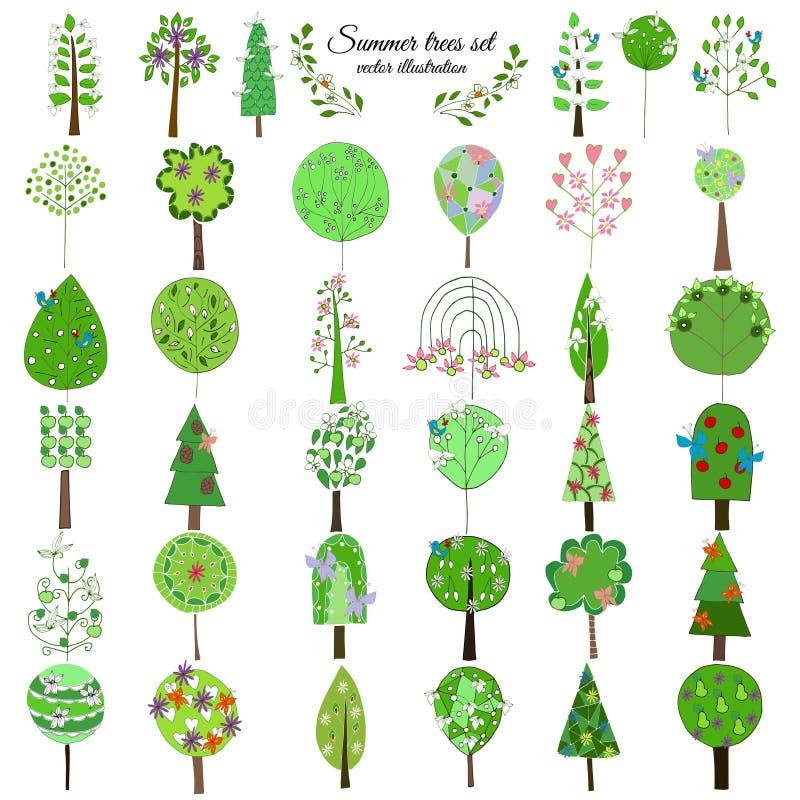 Χρωματισμένη Floral βοτανική πράσινη συλλογή δέντρων ελεύθερη απεικόνιση δικαιώματος
