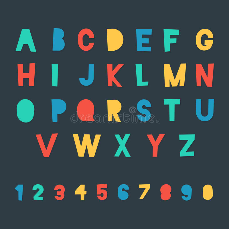 Χρωματισμένοι αλφάβητο και αριθμοί απεικόνιση αποθεμάτων