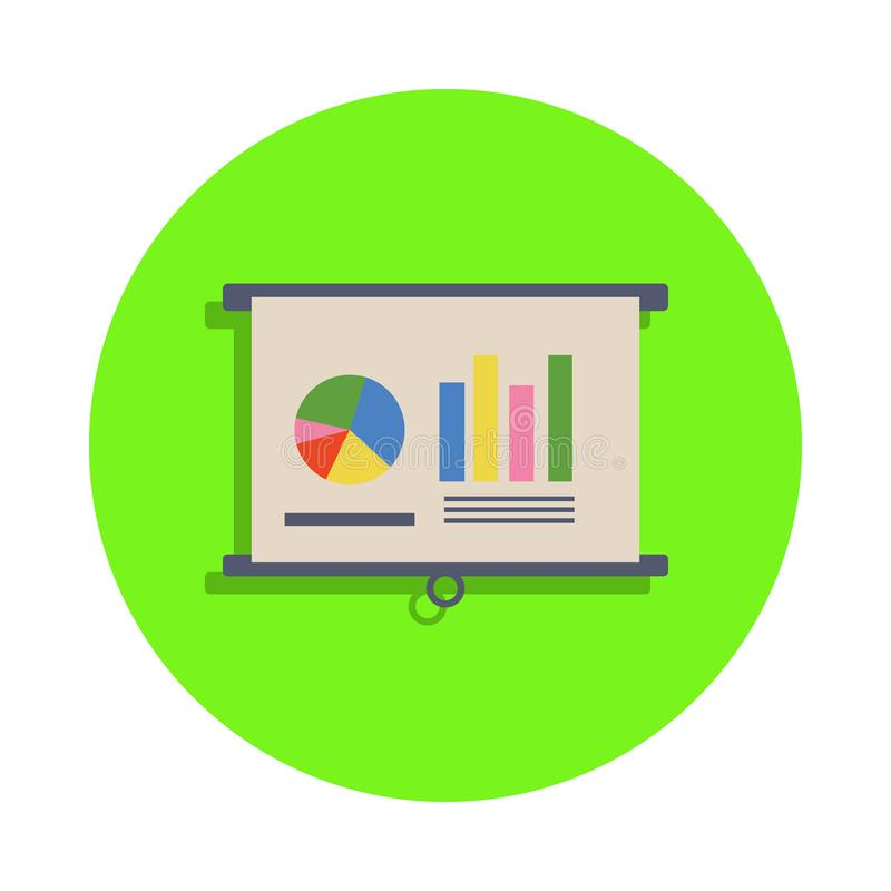 χρωματισμένοι γραφικοί δείκτες στην παρουσίαση στο πράσινο εικονίδιο διακριτικών Στοιχείο της επιστήμης και του εργαστηρίου για τ διανυσματική απεικόνιση