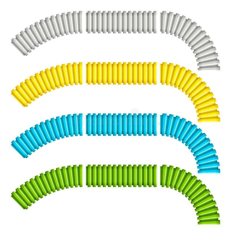 Χρωματισμένοι ζαρωμένοι εύκαμπτοι σωλήνες ελεύθερη απεικόνιση δικαιώματος