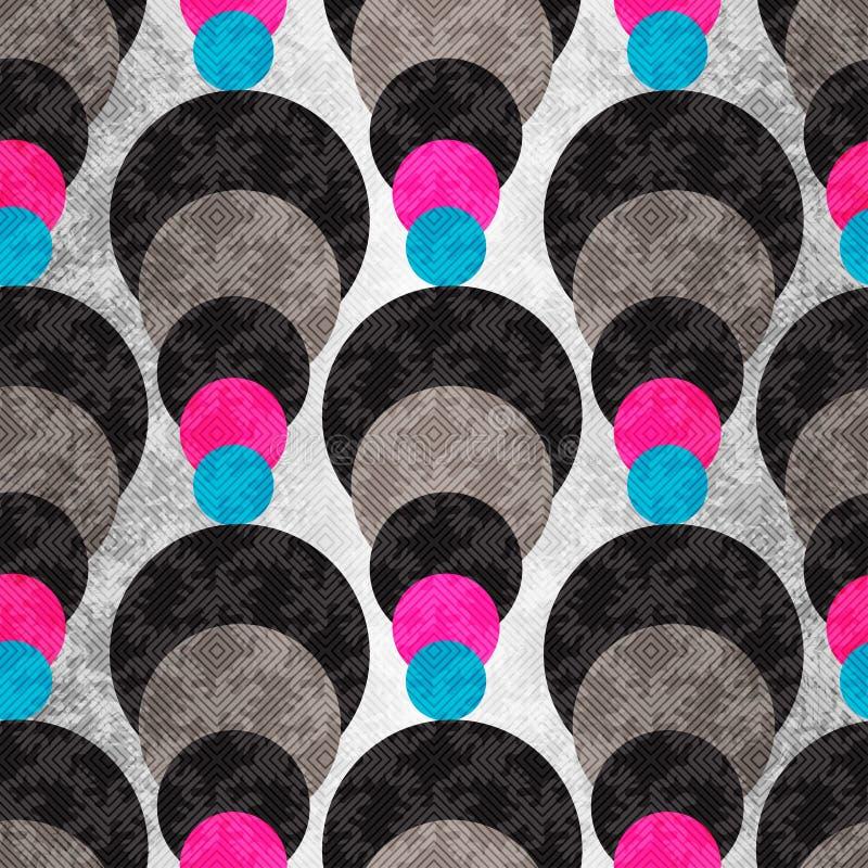 Χρωματισμένοι κύκλοι σε ένα γκρίζο υπόβαθρο με το φωτισμό γεωμετρικό πρότυπο άνευ ραφής διανυσματική απεικόνιση