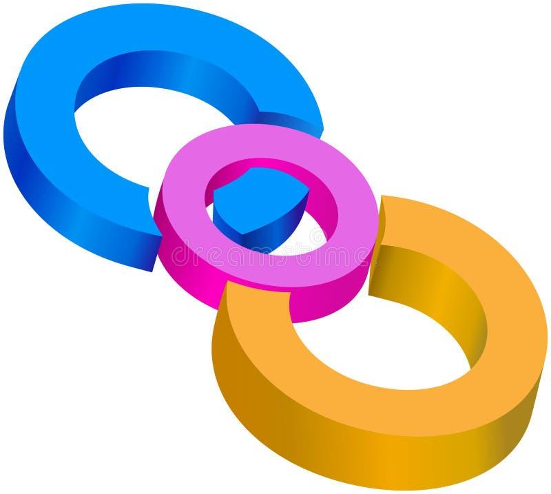 Χρωματισμένοι centrical κύκλοι που ενώνονται από κοινού ελεύθερη απεικόνιση δικαιώματος