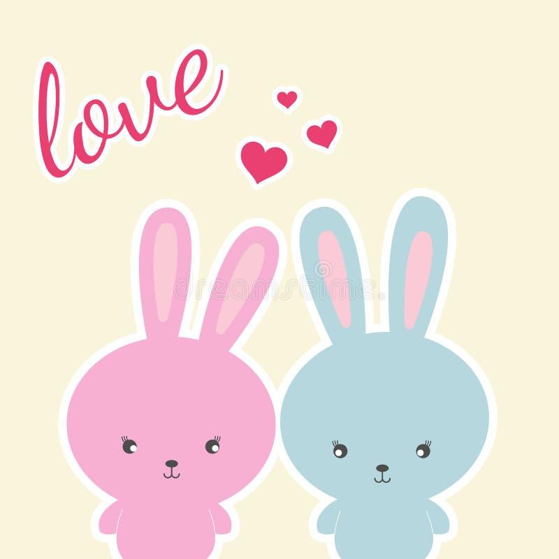 Χρωματισμένος δύο κουνέλια σε μια άσπρη αγάπη υποβάθρου και συνθήματος απεικόνιση αποθεμάτων
