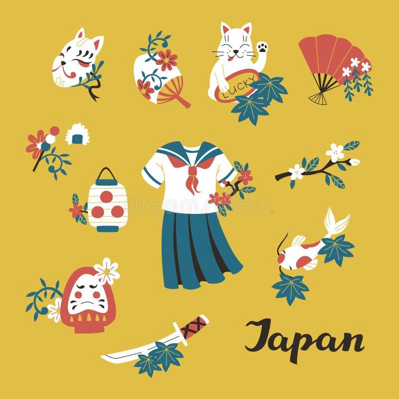 Χρωματισμένος η Ιαπωνία στοιχεία σκίτσων Doodle καθορισμένα: Σχολική στολή, Katana, Koi, τυχερά γάτα και φανάρι εγγράφου ελεύθερη απεικόνιση δικαιώματος