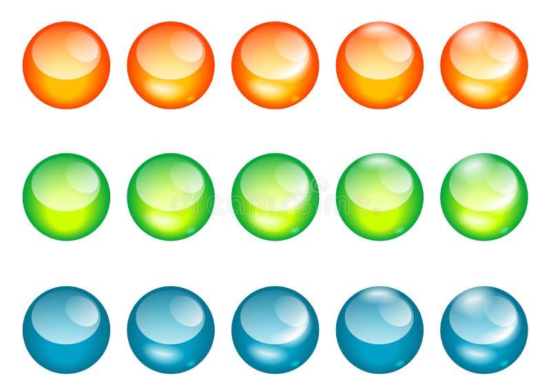 χρωματισμένος Ιστός γυαλιού σφαιρών κουμπί ελεύθερη απεικόνιση δικαιώματος