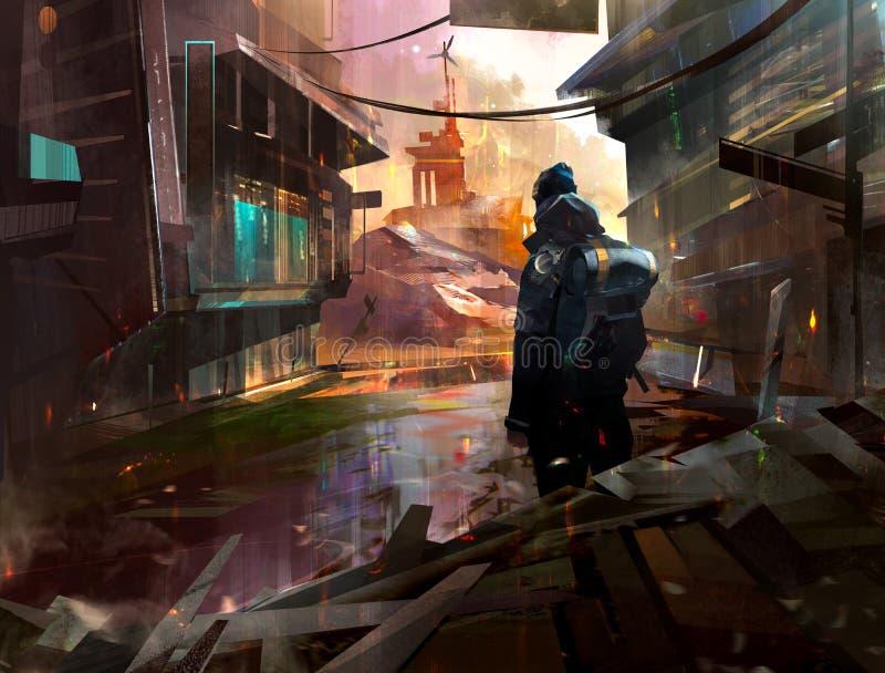 Χρωματισμένος ταξιδιώτης σε μια εγκαταλειμμένη πόλη στο ύφος της μετα-αποκάλυψης διανυσματική απεικόνιση