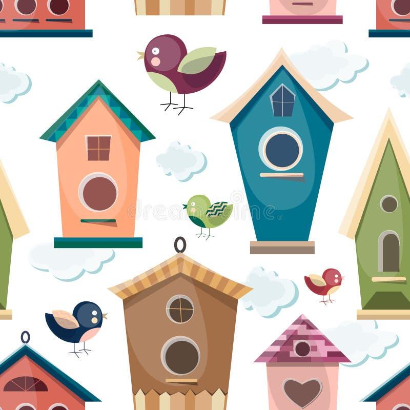 Χρωματισμένος birdhouses θέστε το σχέδιο ελεύθερη απεικόνιση δικαιώματος