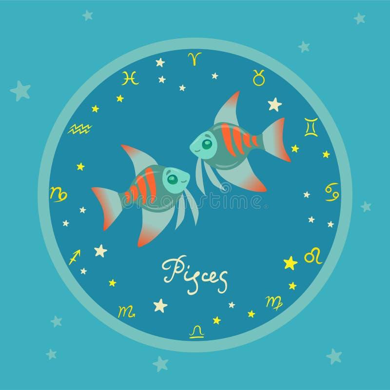 Χρωματισμένος zodiac κύκλος με τη διανυσματική εικόνα χαρακτηρών κινουμένων σχεδίων απεικόνιση αποθεμάτων