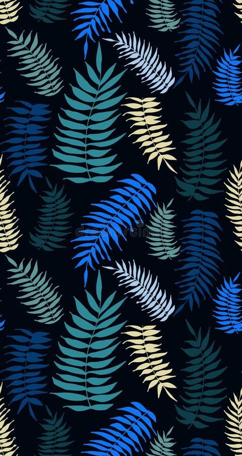 Χρωματισμένο άνευ ραφής σχέδιο φύλλων φοινικών στους τυρκουάζ τόνους απεικόνιση αποθεμάτων