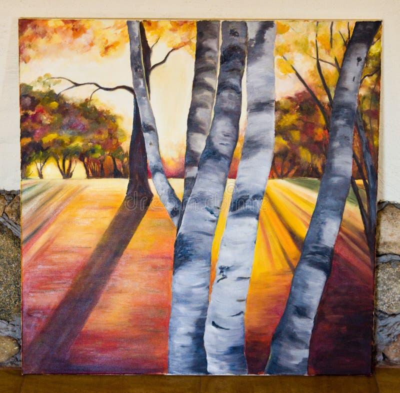 Χρωματισμένο έργο τέχνης - δάσος δέντρων σημύδων στον καμβά διανυσματική απεικόνιση