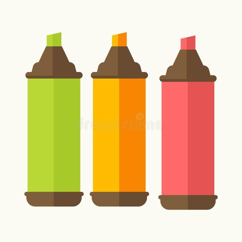 Χρωματισμένο ανοικτό σύνολο highlighters τριών στο λευκό ελεύθερη απεικόνιση δικαιώματος