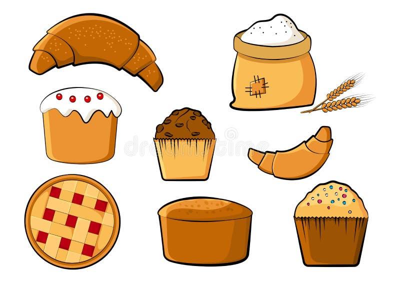 Χρωματισμένο αρτοποιείο σύνολο, διανυσματική απεικόνιση ελεύθερη απεικόνιση δικαιώματος