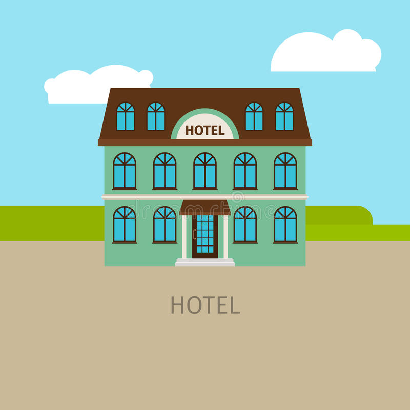 Χρωματισμένο αστικό κτήριο ξενοδοχείων απεικόνιση αποθεμάτων