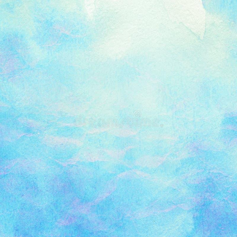 Χρωματισμένο αφηρημένο νερό watercolor, θάλασσα, σύννεφα και στοκ εικόνες