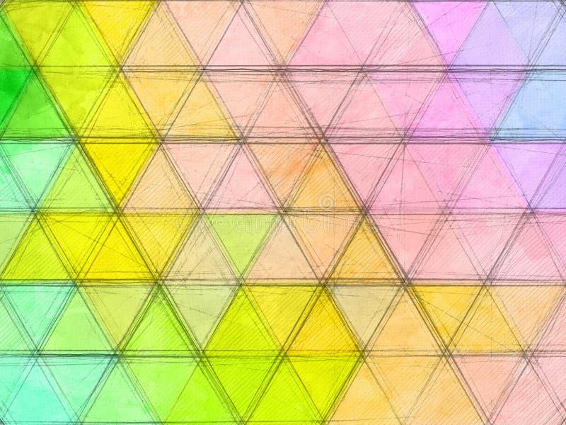 Χρωματισμένο αφηρημένο σκίτσο τριγώνων διανυσματική απεικόνιση