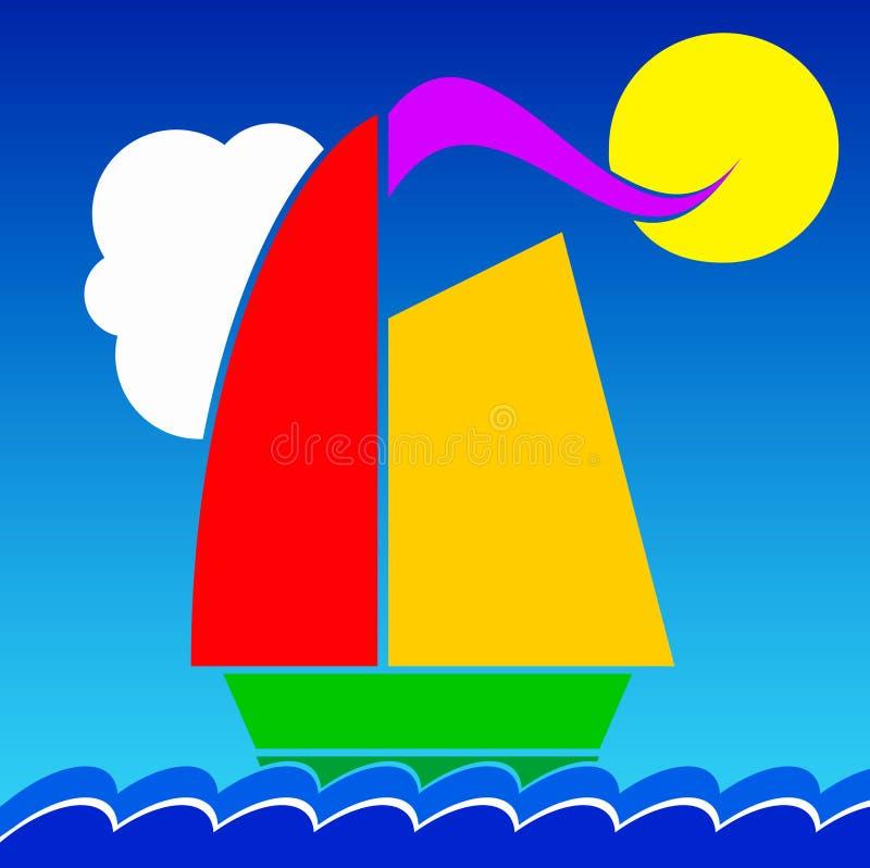 Χρωματισμένο γιοτ διανυσματική απεικόνιση