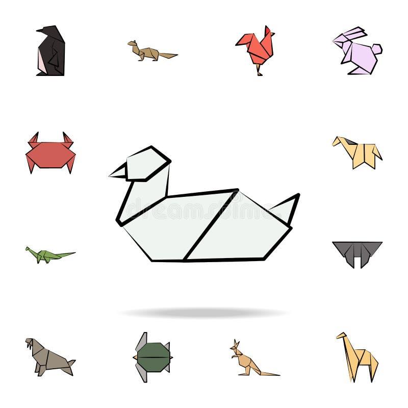 χρωματισμένο γλάρος εικονίδιο origami Λεπτομερές σύνολο ζωικών διαθέσιμων συρμένων εικονιδίων ύφους origami Γραφικό σχέδιο ασφαλί απεικόνιση αποθεμάτων