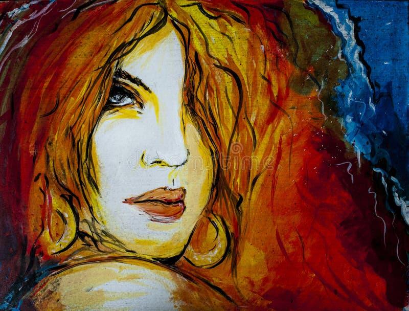 Χρωματισμένο γυναίκα πορτρέτο διανυσματική απεικόνιση