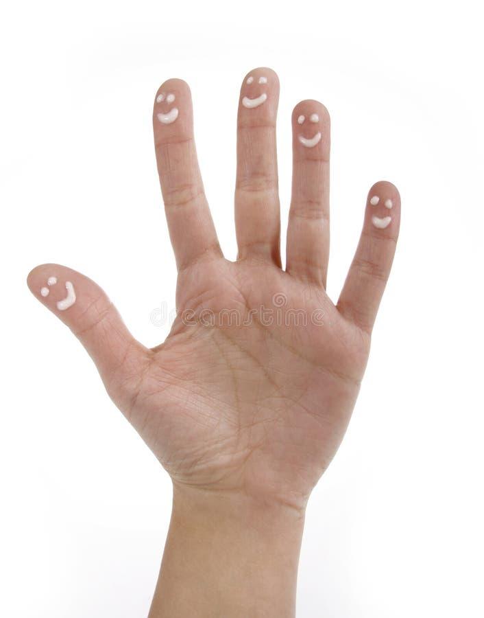 χρωματισμένο δάχτυλα smiley στοκ φωτογραφία