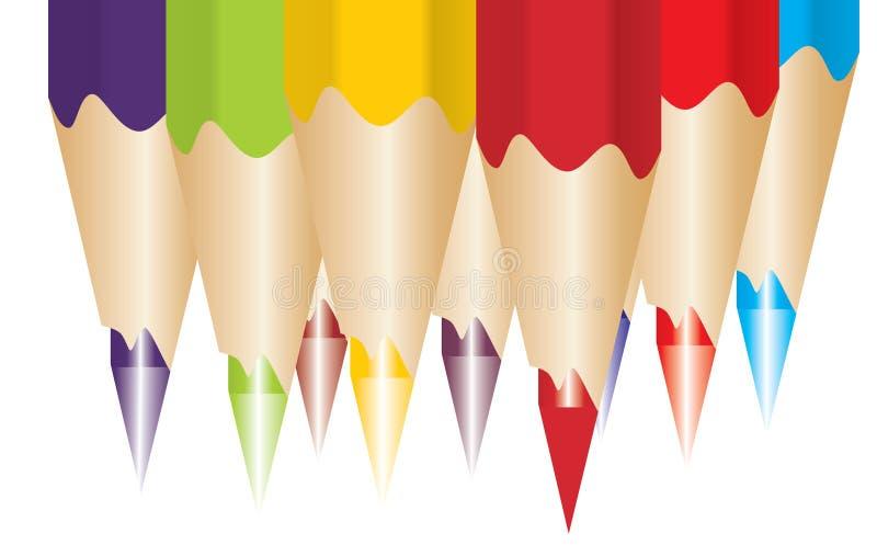 χρωματισμένο διάνυσμα μολυβιών διανυσματική απεικόνιση