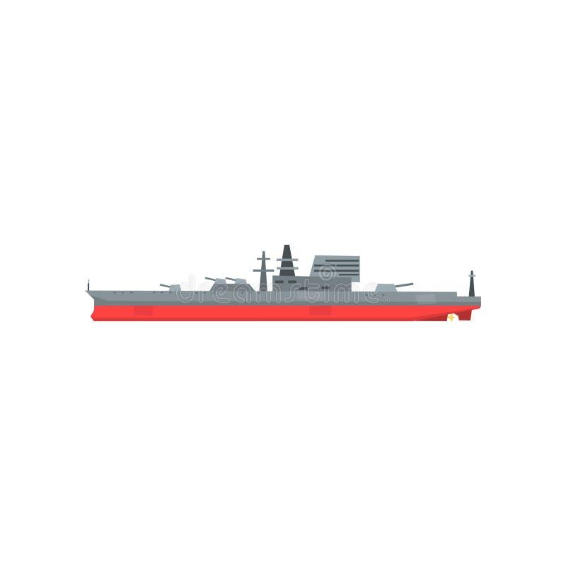 Χρωματισμένο εικονίδιο του μεγάλου στρατιωτικού βυτιοφόρου Σκάφος με το ναυτικό πυροβολικό Βάρκα αγώνα Επίπεδη διανυσματική απεικ διανυσματική απεικόνιση