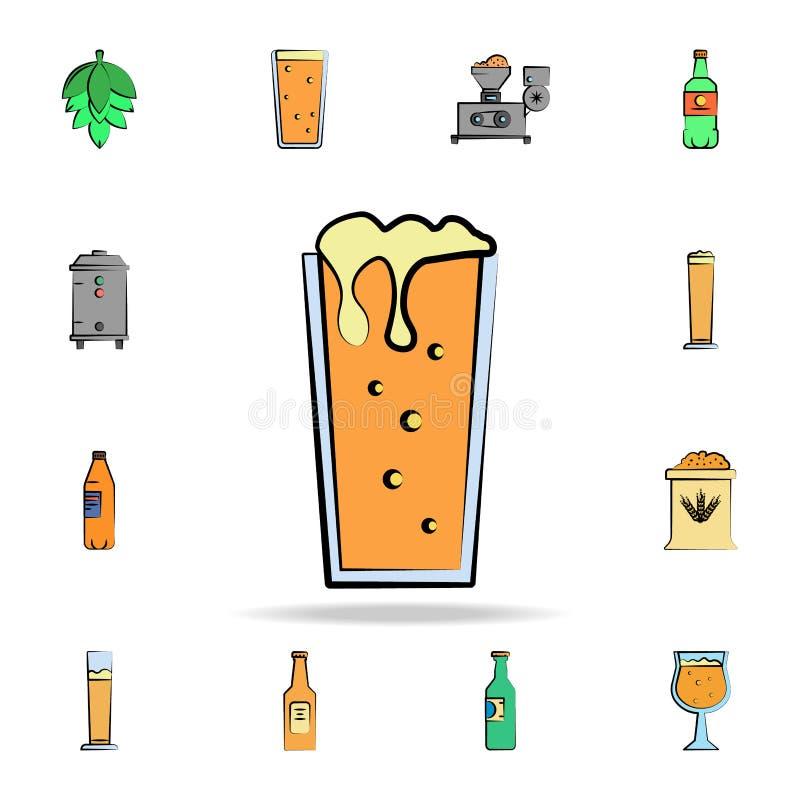 χρωματισμένο εικονίδιο ύφους σκίτσων μπύρας κούπα Λεπτομερές σύνολο συμένος μπύρας χρώματος υπό εξέταση εικονιδίων ύφους Γραφικό  ελεύθερη απεικόνιση δικαιώματος