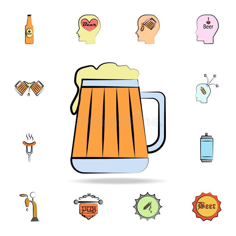χρωματισμένο εικονίδιο ύφους σκίτσων μπύρας κούπα Λεπτομερές σύνολο συμένος μπύρας χρώματος υπό εξέταση εικονιδίων ύφους Γραφικό  διανυσματική απεικόνιση
