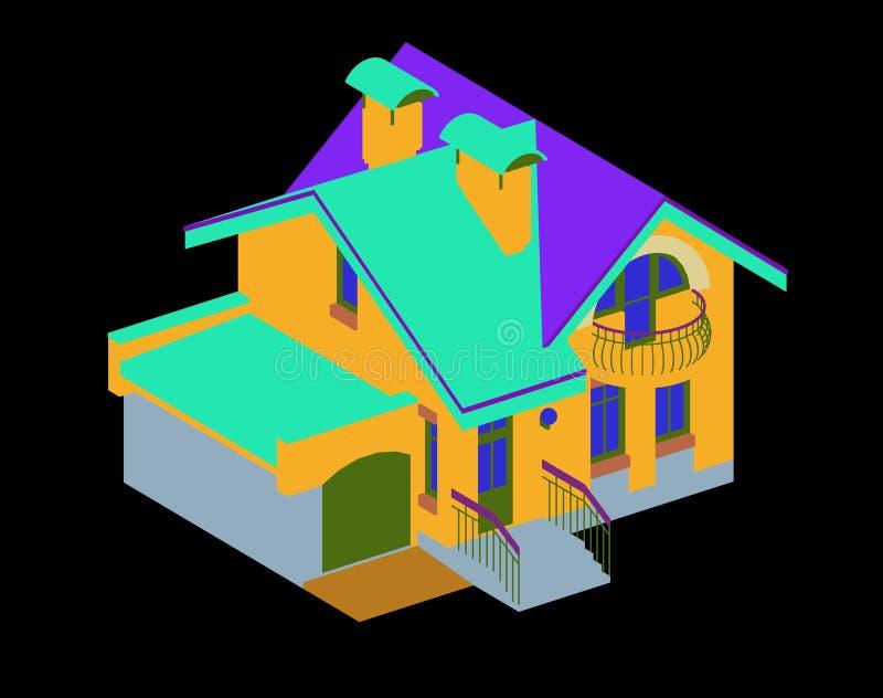 Χρωματισμένο εξοχικό σπίτι στο μαύρο υπόβαθρο στοκ εικόνες με δικαίωμα ελεύθερης χρήσης