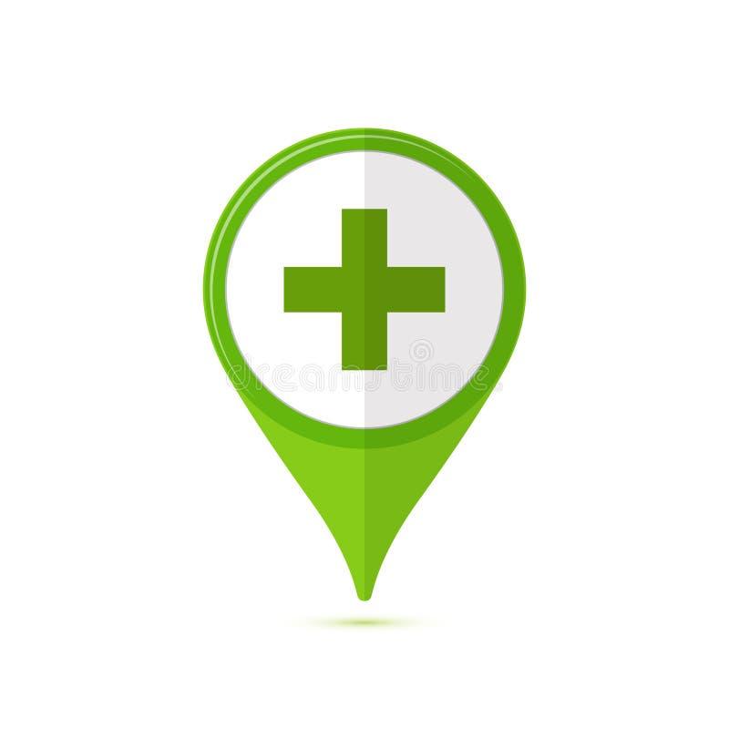 Χρωματισμένο επίπεδο εικονίδιο, διανυσματικό σχέδιο με τη σκιά Φαρμακείο πράσινο POI ελεύθερη απεικόνιση δικαιώματος