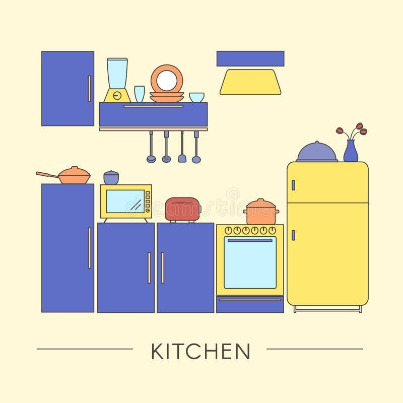 Χρωματισμένο εσωτερικό κουζινών στο λεπτό ύφος γραμμών στοκ εικόνα