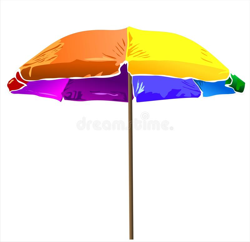 Χρωματισμένο διάνυσμα ομπρελών παραλιών απεικόνιση αποθεμάτων