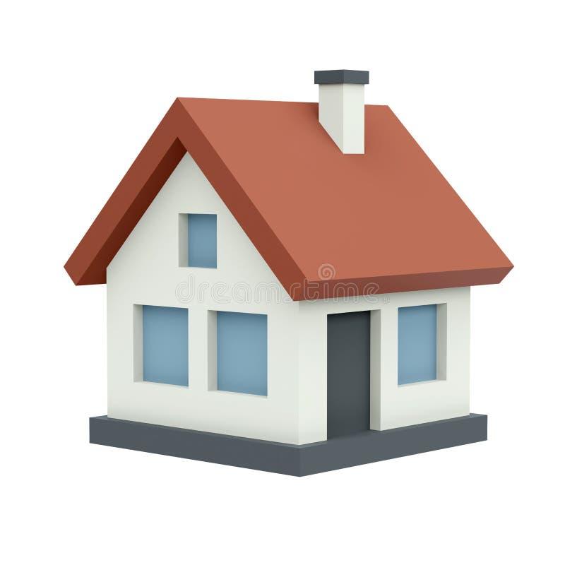 Χρωματισμένο ιδιωτικό σπίτι (που απομονώνεται) στοκ φωτογραφία με δικαίωμα ελεύθερης χρήσης