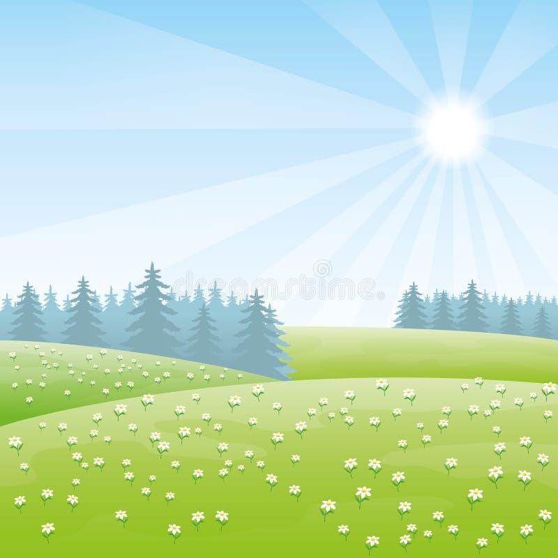 χρωματισμένο καλοκαίρι φύσης χεριών γίνοντα απεικόνιση διανυσματική απεικόνιση