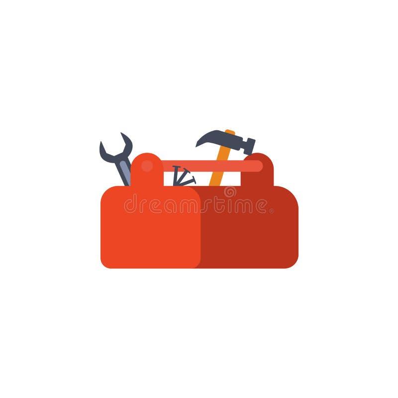 χρωματισμένο κιβώτιο με την απεικόνιση εργαλείων Στοιχείο των εργαλείων κατασκευής για την κινητούς έννοια και τον Ιστό apps Λεπτ ελεύθερη απεικόνιση δικαιώματος