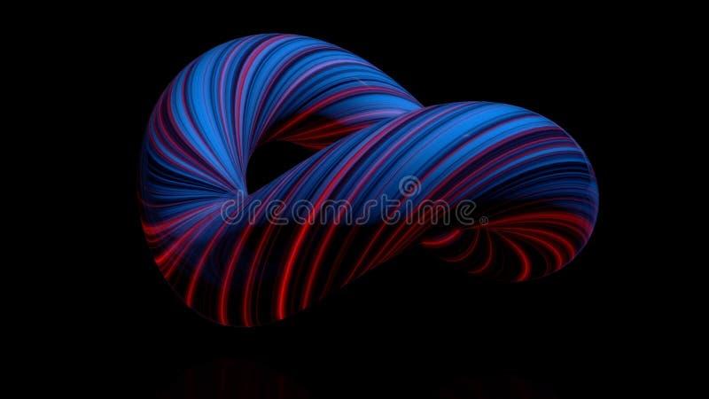 Χρωματισμένο κυρτό δακτύλιο αριθμού Τρισδιάστατη ζωτικότητα της δέσμης στριμμένος στον κύκλο των φωτεινών νημάτων Περίληψη διανυσματική απεικόνιση