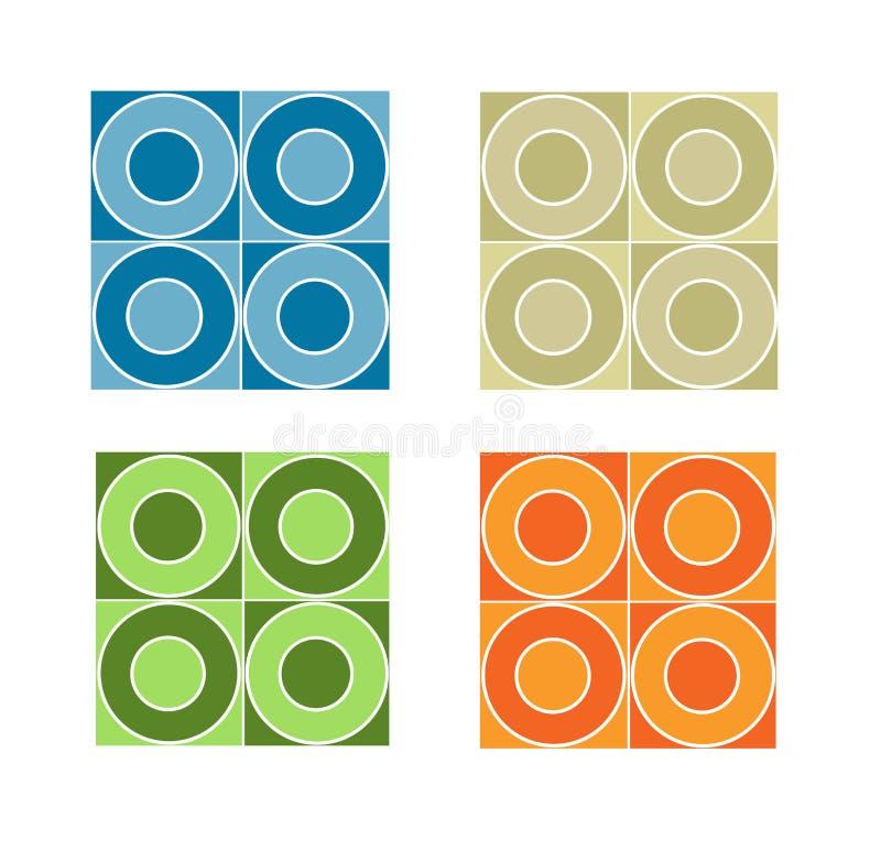 χρωματισμένο κύκλοι άνευ ραφής κεραμίδι προτύπων απεικόνιση αποθεμάτων