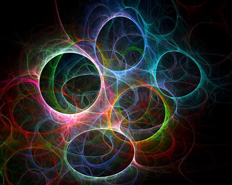χρωματισμένο κύκλοι fractal τέχνης διανυσματική απεικόνιση